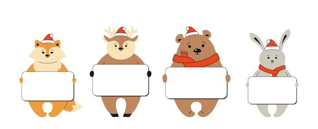Raposa, urso veado e lebre segurando uma faixa em branco modelo de animais de desenho animado