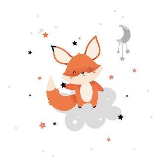 Raposa vermelha fofa com uma estrela