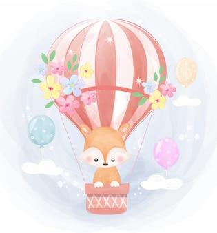Raposa voando com balão de ar