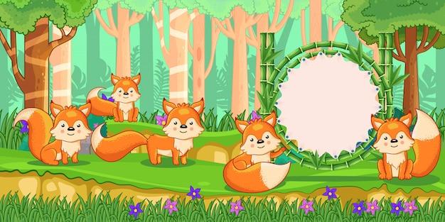 Raposas com um sinal em branco de bambu na floresta