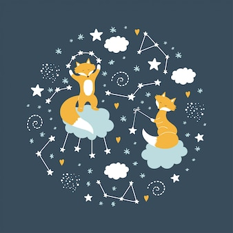 Raposas em nuvens com estrelas