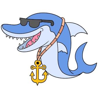 Rapper de tubarão usando óculos escuros e colar de âncora de ouro, arte de ilustração vetorial. imagem de ícone do doodle kawaii.