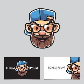 Rapper e mascote de homem barbudo e cartões de visita