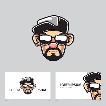 Rapper homem com mascote de chapéu e cartões de visita