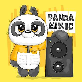 Rapper panda ouvindo com alto-falante