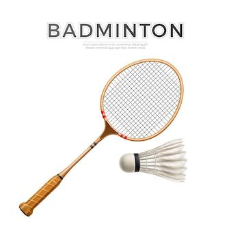 Raquete de badminton realista com peteca