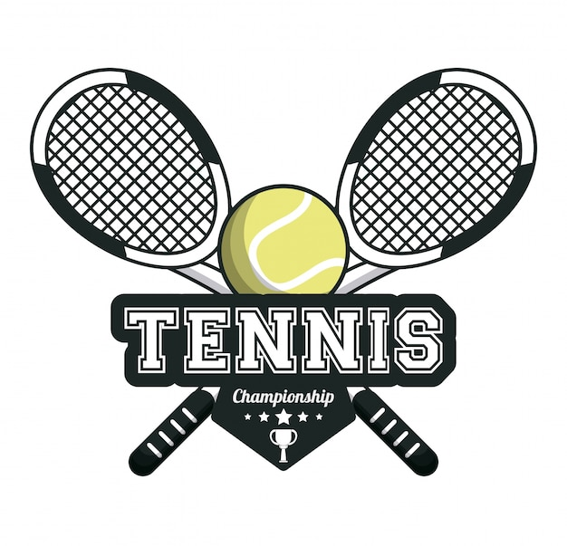 Raquete de esportes de tênis com imagem de emblema de bola cruzada