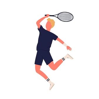 Raquete de quebra de desportista dos desenhos animados jogando tênis grande, isolado no fundo branco. macho ativo curtindo o esporte pronto para bater a ilustração plana do vetor da bola. homem colorido em roupas esportivas durante o treino.