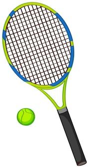 Raquete de tênis com bola isolada