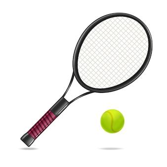 Raquete de tênis detalhada realista e equipamento de bola para jogo de esporte ou atividade de lazer. ilustração vetorial