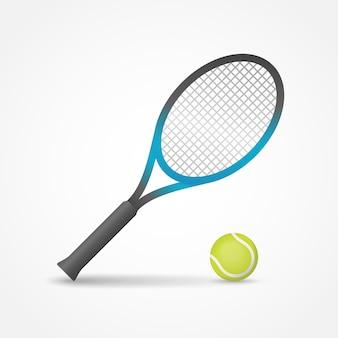 Raquete de tênis e ilustração isolada bola.