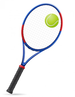 Raquete de tênis e ilustração vetorial de bola