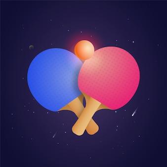 Raquete dois para o tênis de mesa com a bola na ilustração futurista do estilo. elementos do campeonato de ping pong
