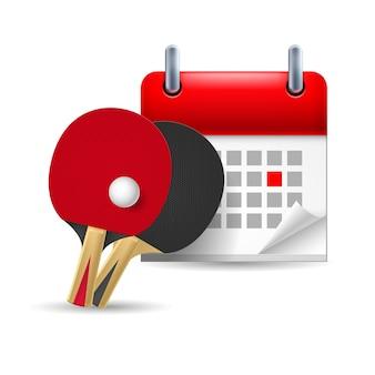Raquetes de pingue-pongue e calendário