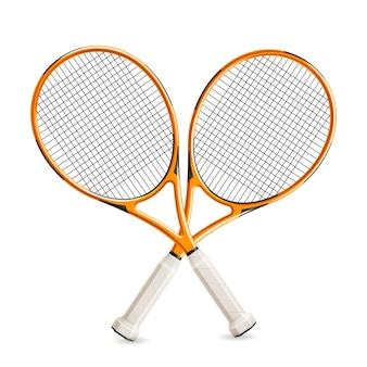 Raquetes de tênis cruzadas realistas para design de torneio de tênis