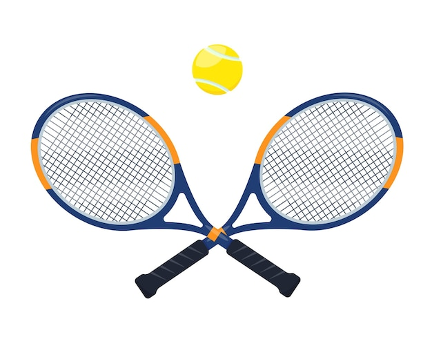 Raquetes de tênis e bola isoladas no fundo branco elementos de equipamento esportivo