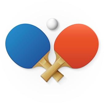 Raquetes e bolas para tênis de mesa