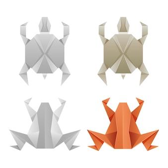 Rãs de papel de origami e tartarugas