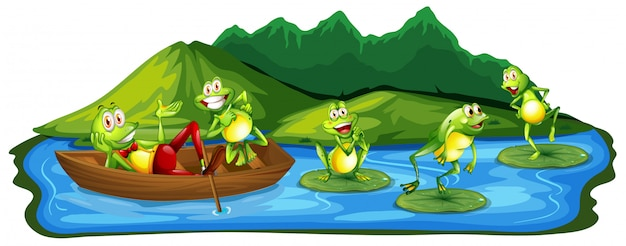 Rãs felizes na lagoa