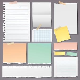 Rasgo de papel conjunto com nota adesiva e vetor de fita adesiva