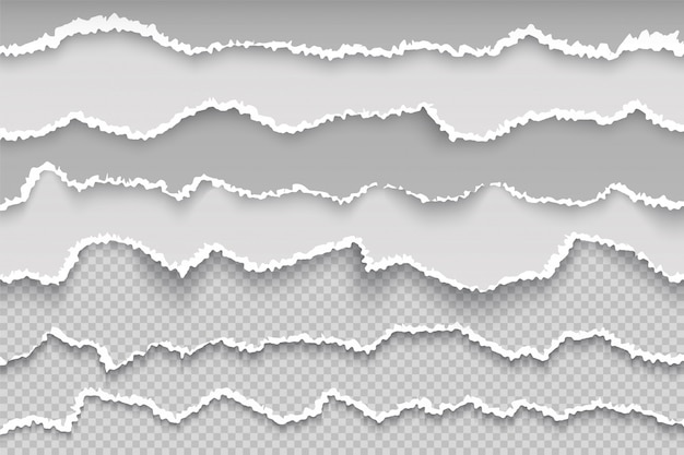Rasgue a página de papel. fronteira de grunge transparente página rasgada, papelão branco quebrado, textura áspera scrapbook danificado. papel de rascunho