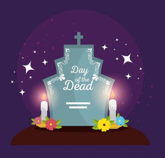 Rasgue com flores e velas para celebrar o dia dos mortos