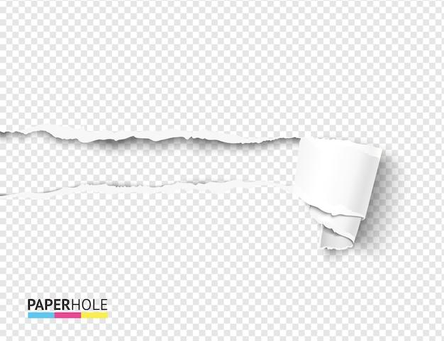 Rasgue o pergaminho de papel ondulado e o conceito de buraco rasgado em branco