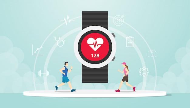 Rastreador de aplicativos de relógio inteligente com pulso de mão e pessoas correndo de homens e mulheres