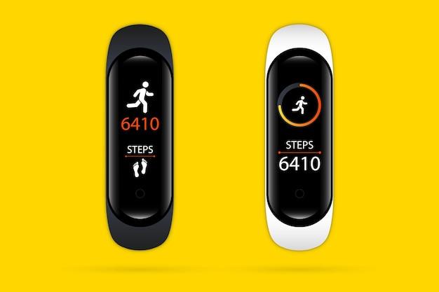 Rastreador de fitness ou relógio inteligente. pulseira esportiva com contador de passos de atividade de corrida e medidor de pulsação. pulseira com rastreamento de atividade de corrida