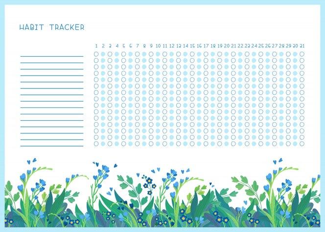 Rastreador de hábito para o modelo de vetor plana do mês. organizador pessoal em branco, temático de flores silvestres de primavera com moldura decorativa. fronteira floral de temporada de verão com letras estilizadas