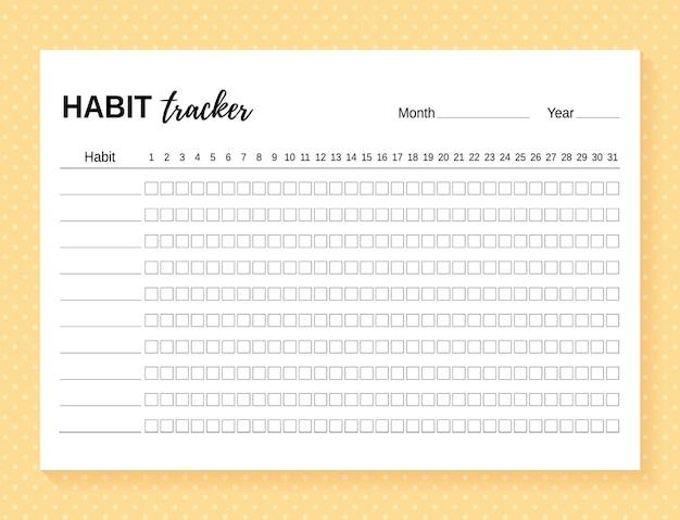 Rastreador de hábitos. modelo de diário de hábitos para o mês. ilustração vetorial.