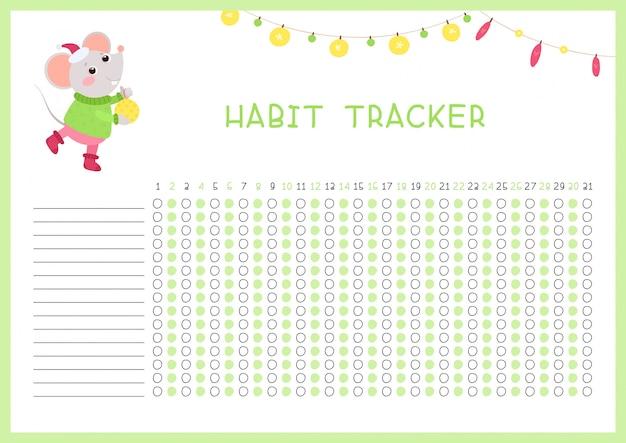 Rastreador de hábitos para o modelo de vetor plana de mês