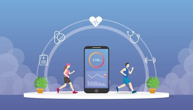 Rastreador de saúde fitness com aplicativos para smartphone