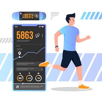Rastreadores de fitness em design plano