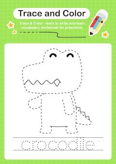 Rastreamento de crocodilo e rastreamento de planilha pré-escolar em cores