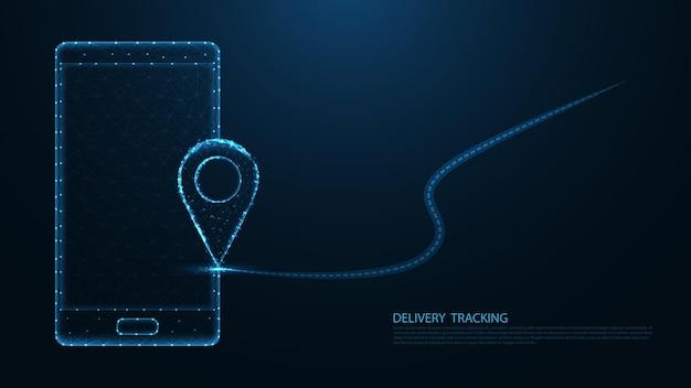 Rastreamento de entrega.localização pin navigator line connection. design de wireframe de baixo poli. fundo geométrico abstrato. ilustração vetorial.