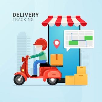 Rastreamento de entrega na ilustração vetorial de dispositivo móvel