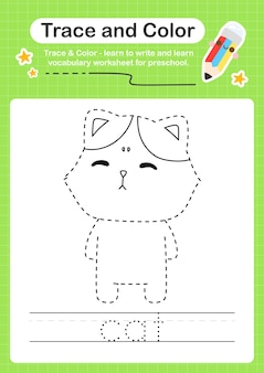 Rastreamento de gato e rastreamento de planilha pré-escolar colorida