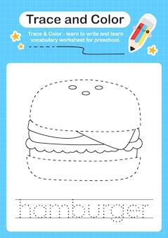 Rastreamento de hambúrguer e rastreamento de planilha colorida para crianças para praticar habilidades motoras finas
