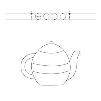 Rastreamento de letras com bule de chá de cozinha de desenhos animados. prática de escrita para crianças.