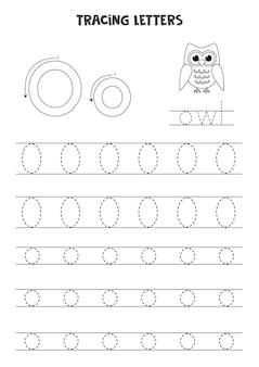 Rastreamento de letras do alfabeto inglês. folha de trabalho em preto e branco.