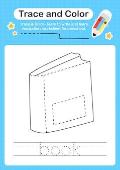 Rastreamento de livro e rastreamento de planilha pré-escolar em cores para crianças para praticar habilidades motoras finas