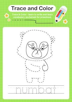 Rastreamento de numbat e rastreamento de planilha pré-escolar em cores