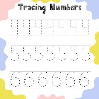 Rastreamento de página de atividades de números para crianças. planilha de escrita pré-escolar para crianças. modelo de folha de educação.