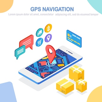 Rastreamento de pedidos. telefone isométrico com app de serviço de entrega. envio de caixa, transporte de carga