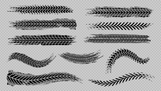 Rastreamento de pneus. rodas abstratas travando distâncias, escovas de silhuetas de piso. trilhas isoladas de vetor de carros ou motocicletas. veículo pneumático, borracha de trilhos, ilustração de textura de transporte