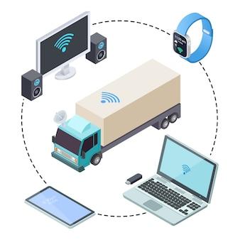 Rastreamento em tempo real para caminhões de carga isométrico