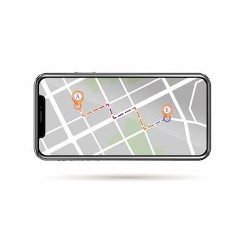 Rastreamento gps no mapa de ruas na tela do celular