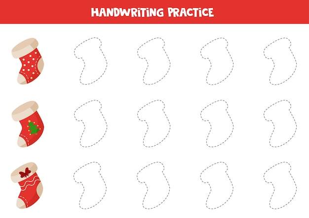 Rastreando contornos de meias de natal dos desenhos animados. prática de caligrafia para crianças.