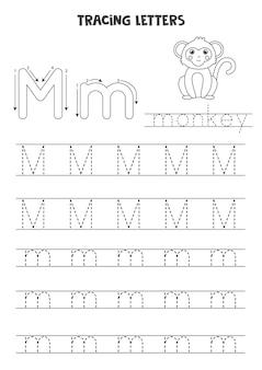Rastreando letras do alfabeto inglês, planilha em preto e branco
